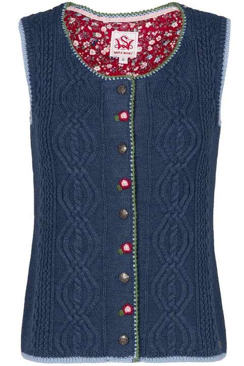 trachten damen strickweste mit zopfmuster jeansblau damen mia san tracht. Black Bedroom Furniture Sets. Home Design Ideas