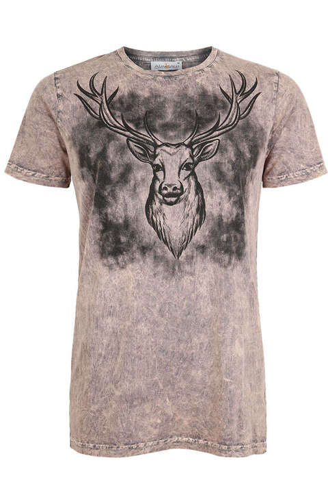 Herren Trachten T-Shirt Hirsch Antique Rose