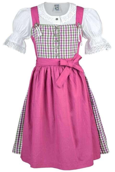 kinderdirndl mit bluse gr n wei pink kariert dirndl. Black Bedroom Furniture Sets. Home Design Ideas