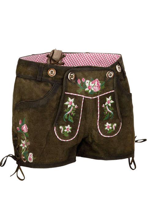 25a9ed9585af Damen Lederhose Flowermix kurz braun pink - Trachten Lederhosen ...